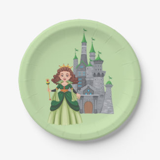 Little Princess and Castle in Green Paper Plate