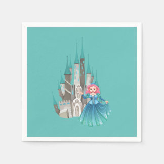 Little Princess and Castle in Turquoise Disposable Napkins