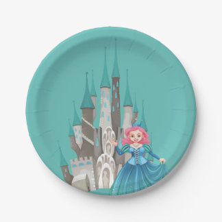 Little Princess and Castle in Turquoise Paper Plate