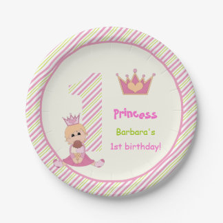 Little princess and crown girls 1st birthday pink paper plate