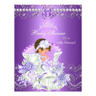 Little Princess Baby Shower Girl Purple Tiara 3 Personalized Announcement