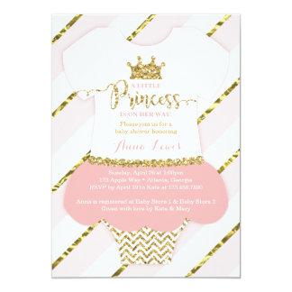 "Little Princess Baby Shower Invitation, Pink, Gold 5"" X 7"" Invitation Card"