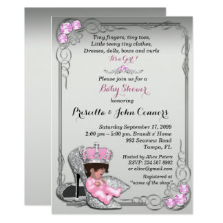Little Princess Baby Shower Invitation,silver Card