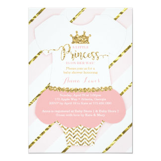 """Little Princess Baby Shower Invite, Faux Glitter 5"""" X 7"""" Invitation Card"""
