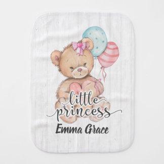 Little Princess Balloons & Teddy Bear Baby Girl Burp Cloth