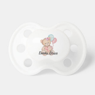 Little Princess Balloons & Teddy Bear Baby Girl Pacifier
