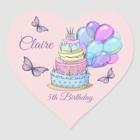 Little Princess Birthday Cake Balloons Butterflies Heart Sticker
