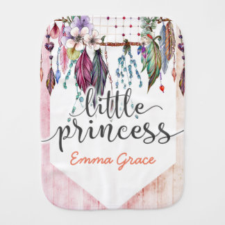 Little Princess Boho Chic Dreamcatcher Baby Girl Burp Cloth