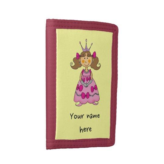 little princess (brown hair) tri-fold wallet