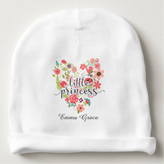 Little Princess Chic Pink Floral Heart Baby Girl Baby Beanie