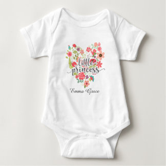 Little Princess Chic Pink Floral Heart Baby Girl Baby Bodysuit