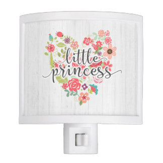Little Princess Chic Pink Floral Heart Baby Girl Nite Light