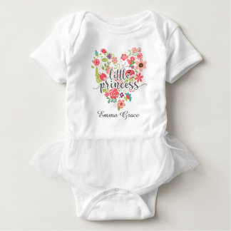Little Princess Chic Pink Floral Heart Baby Tutu Baby Bodysuit