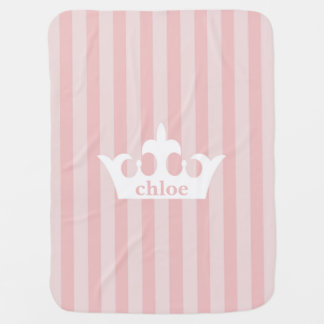 Little Princess Crown Pink Striped Baby Blanket