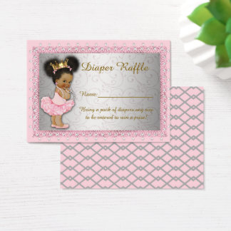 Little Princess Diaper Raffle Tickets, pink silver Business Card