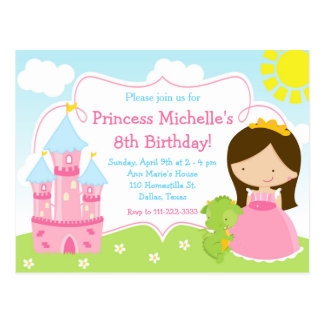 Little Princess & Dragon Birthday Invite Postcard