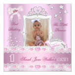 """Little Princess First Birthday Party Photo 5.25"""" Square Invitation Card"""