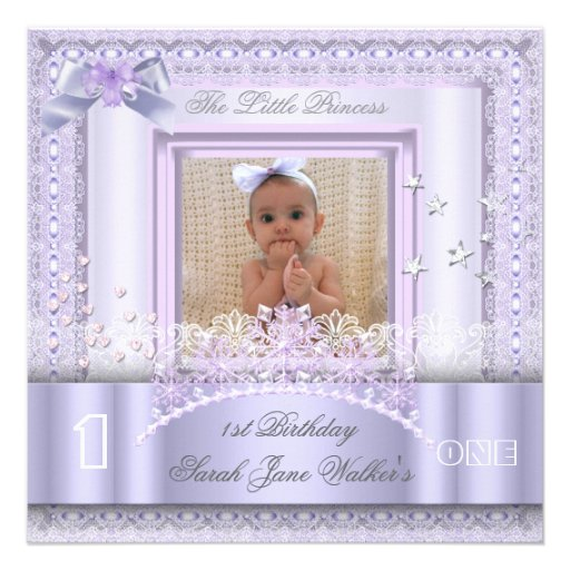 Little Princess First Birthday Party Photo Lilac 2 Personalized Announcement