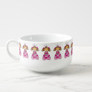 little princess girl (brown hair) soup mug