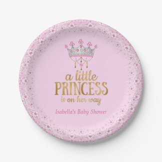 Little Princess on her way Pink Gold Tiara Party Paper Plate