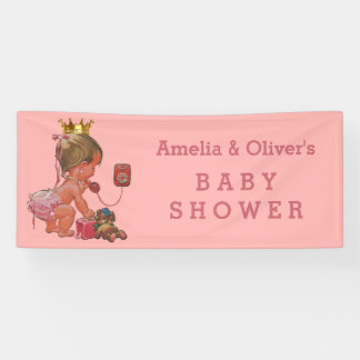 Little Princess on Phone Personalized Baby Shower Banner