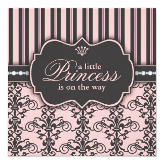 Little Princess on the Way Pink Black Baby Shower Card
