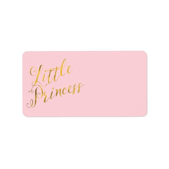 Little Princess Quote Faux Gold Foil Glitter Pink Label