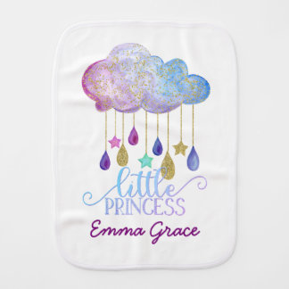 Little Princess Rainbow Cloud & Gold Baby Girl Burp Cloth