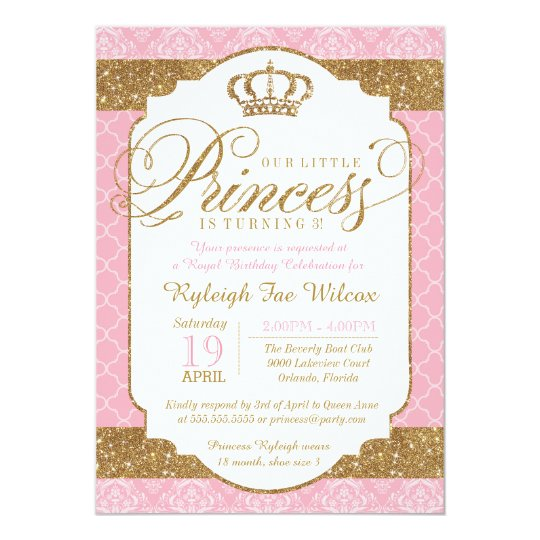 Little Princess Royal Pink And Gold Birthday Invitation