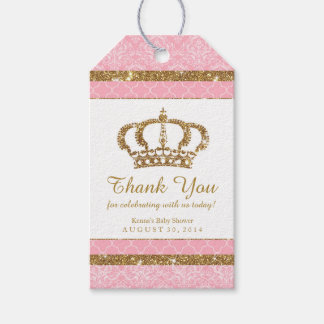 Little Princess Royal Pink Gold Favor Tag