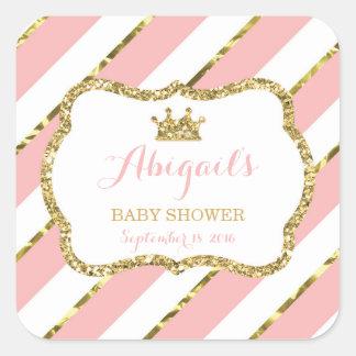 Little Princess Sticker, Pink, Faux Glitter Square Sticker