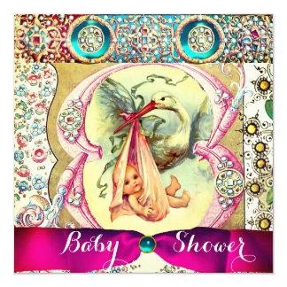 LITTLE PRINCESS STORK BABY SHOWER,FLORAL GEMSTONES CARD