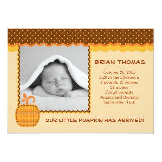 "Little Pumpkin Baby Birth Photo Announcement 5"" X 7"" Invitation Card"