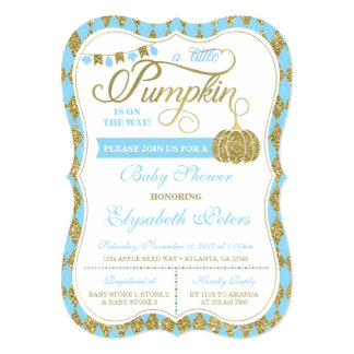 Little Pumpkin Baby Shower Invitation, Faux Gold Card