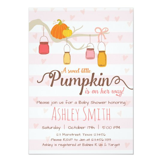 Little Pumpkin Baby Shower Invitation Mason Jars