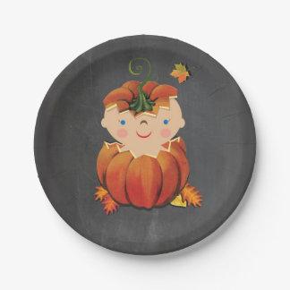 Little Pumpkin Baby Shower Paper Plates 7 Inch Paper Plate