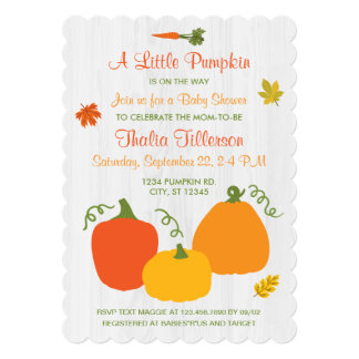 Little Pumpkin Fall Season Baby Shower Invitation