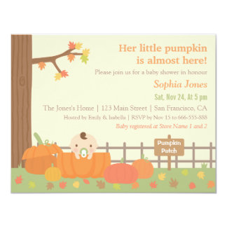 Little Pumpkin Fall Themed Baby Shower Invitations
