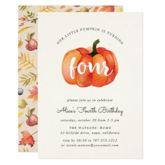 Little Pumpkin Fourth Birthday Party Invitation