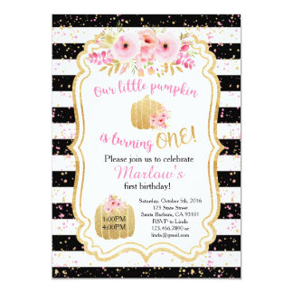 Little Pumpkin is ONE! Gold Pink Invitation
