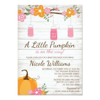 Little Pumpkin Mason Jars Fall Girl Baby Shower Card