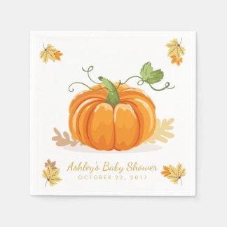Little Pumpkin Paper Napkin Fall baby shower Leave