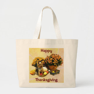 Little Pup's Thanksgiving Large Tote Bag