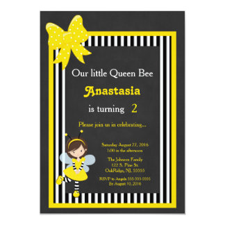 "Little Queen Bee 5"" X 7"" Invitation Card"