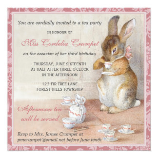 Little Rabbit Birthday Party Invitation Pink