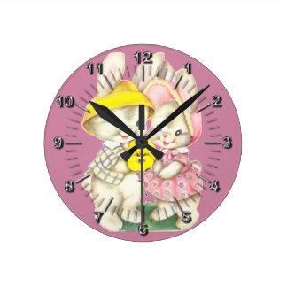Little rabbits wall clock