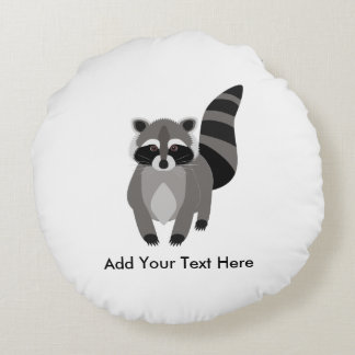 Little Raccoon Rascal Personalized Round Pillow