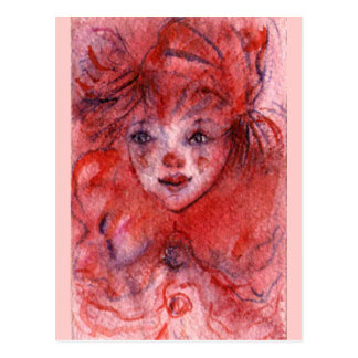 LITTLE RED CLOWN POSTCARD