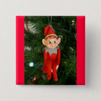 Little red elf 2 inch square button
