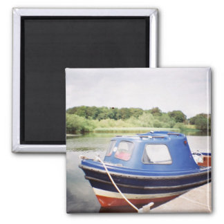 Little red ferry boat square magnet